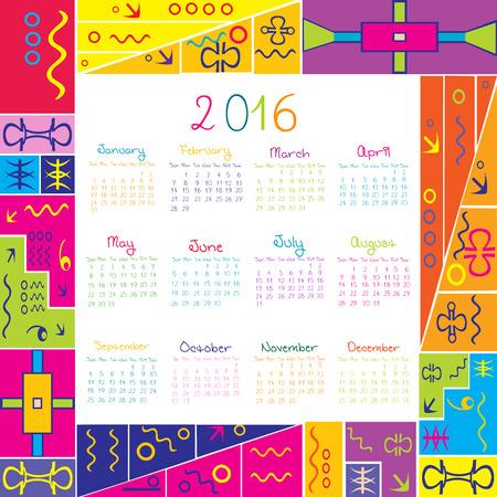 2016 calendar with frame for kids Vector