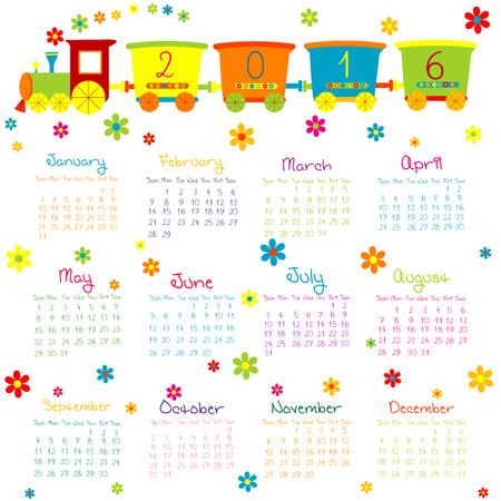 calendar september: 2016 Calendar with toy train and flowers
