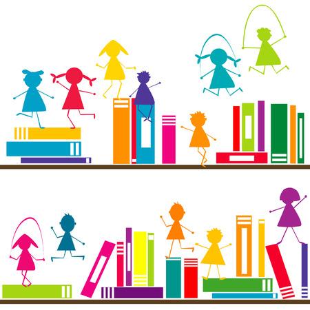 Cartoon children playing on book shelves Vector