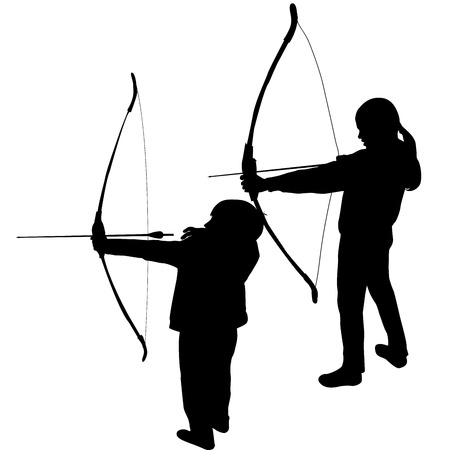 archery: Children silhouettes playing archery
