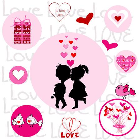 cheeks: Set of round frames with Valentine elements Illustration