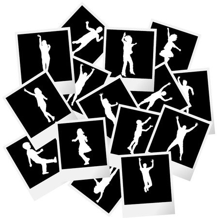 old photo album: A pile of photo frames with children silhouettes