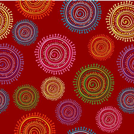 Seamless ethnique dans des couleurs vives avec des formes circulaires