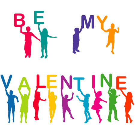 st valentines day: Children silhouettes holding letters with BE MY VALENTINE Illustration