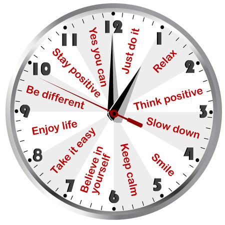 positive thinking: Clock with motivational and positive thinking messages