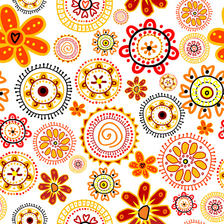 whimsical: Doodle flowers seamless pattern