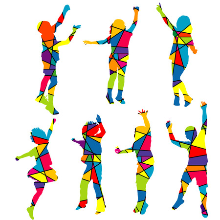 square dancing: Happy children silhouettes patterned colorful mosaic background