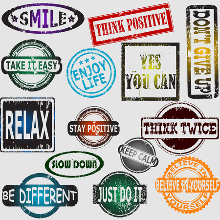 contentment: Motivation and positive thinking messages rubber stamps set