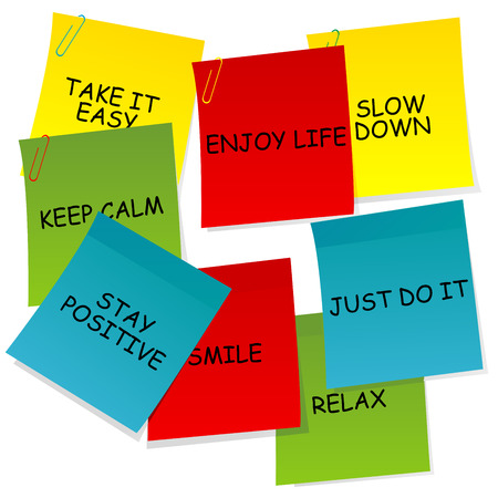 slow down: Sheets of paper with motivational and positive thinking messages