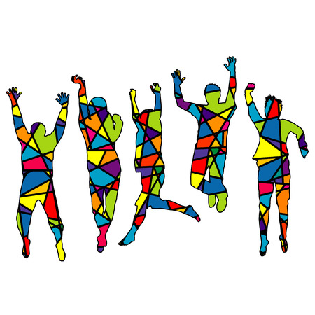 square dancing: People jumping. Silhouette patterned in colorful mosaic background