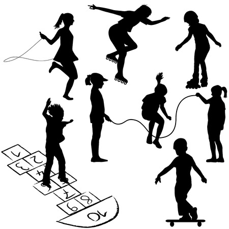 group jumping: Active kids. Children on roller skates, jumping rope or playing on the hopscotch