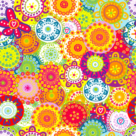 Colorful floral seamless background Stock Illustratie