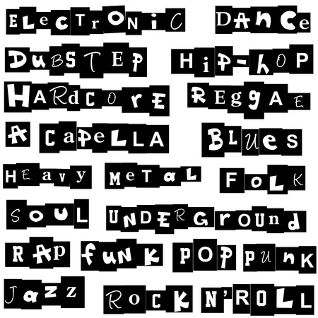 punk rock: Music genres made of letters Illustration