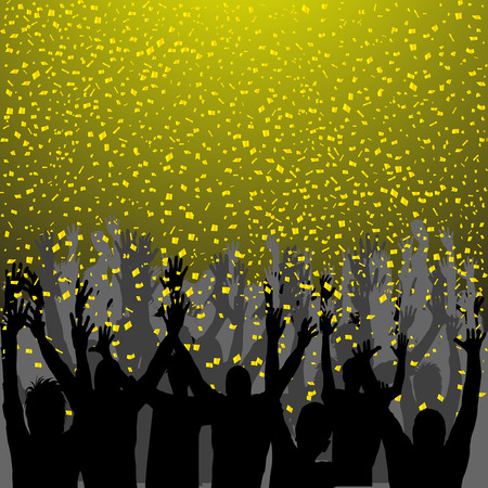 nightclub party: Nightclub party with hands in air and golden confetti Illustration