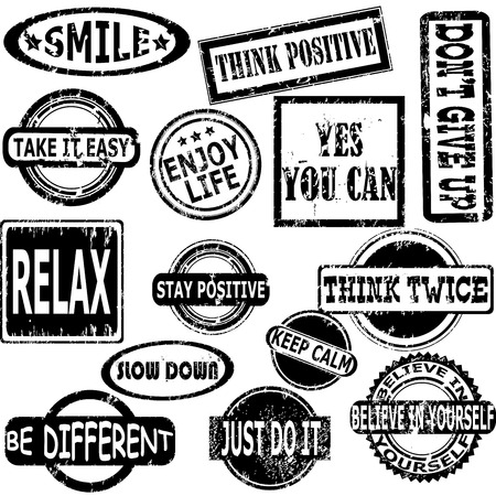 positive note: Rubber stamps with motivation and positive thinking messages Illustration