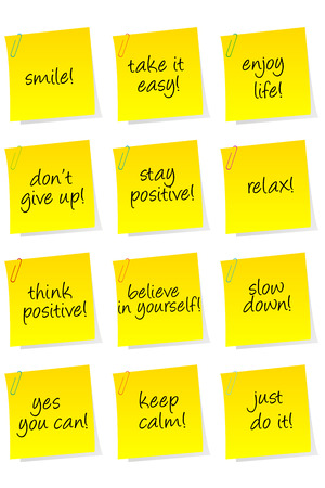 contentment: Set of sheets of paper with motivational and positive thinking messages