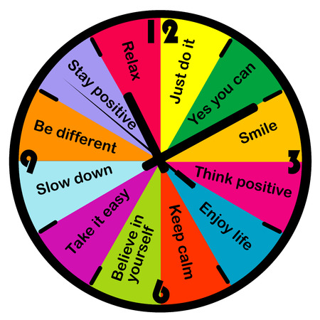 Colored clock with motivation and positive thinking messages Imagens - 36148057