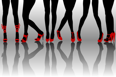 fashionable woman: Female legs silhouettes with red shoes