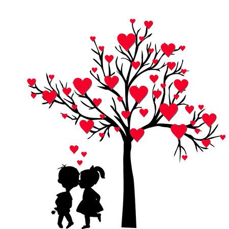 siluetas de enamorados: Tarjeta de felicitación de San Valentín con el árbol de corazones y chicos besándose Vectores