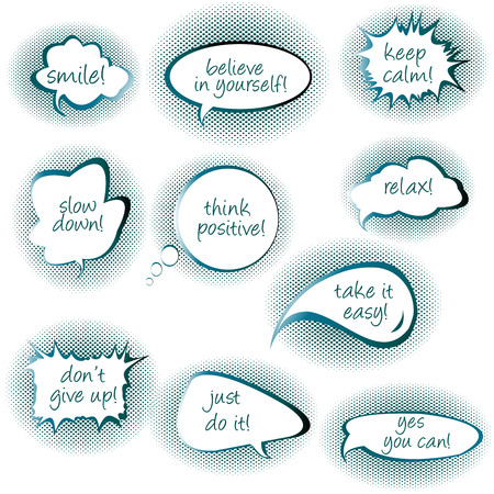 contentment: Set of chat bubbles with motivational and positive thinkiins messages Illustration