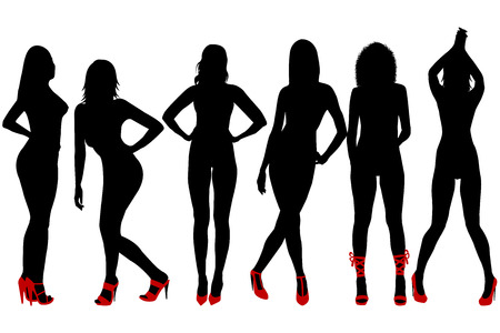 fashionable woman: Silhouettes of women with red shoes Illustration