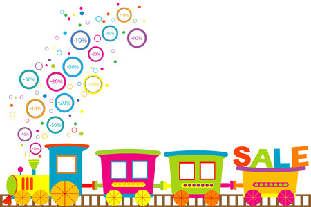 toy train: Background for discount sale with cartoon train and discount prices