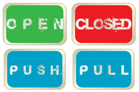 pull over: Open, closed, pull and push colored signs isolated over white background Illustration