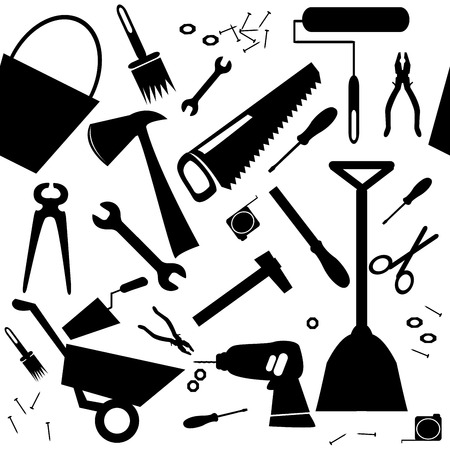 hummer: Seamless background with DIY or home repair tools
