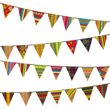 bunting flags: Bunting flags with ethnic motifs