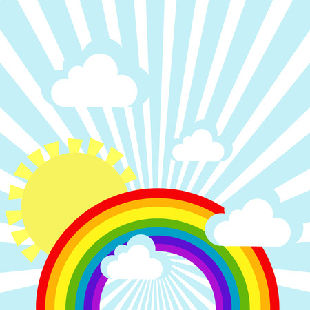 whirling: Sky background with clouds, sun and rainbow