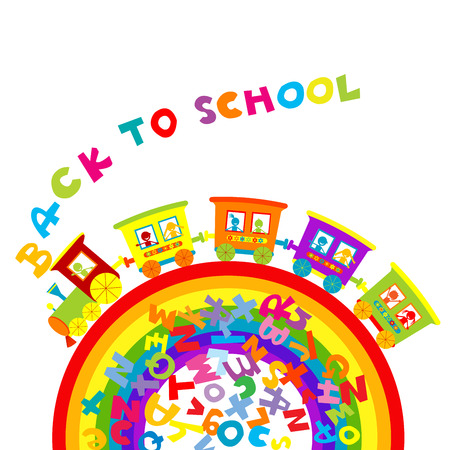 Back to school concept with cartoon train on ranbow and colored letters Vector