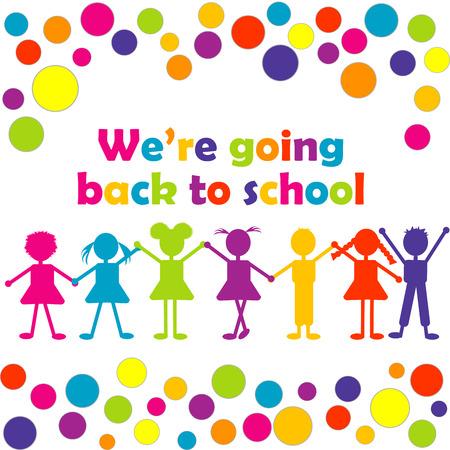 niños saliendo de la escuela: Volver a la ilustración de la escuela con los niños estilizados felices
