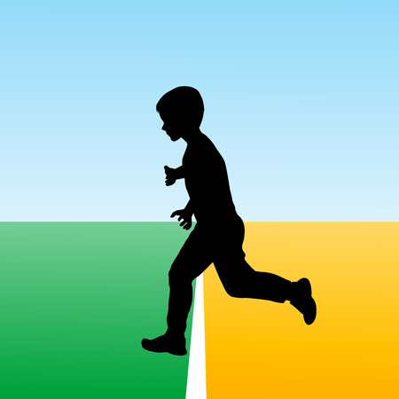 new beginning: Boy crossing the finish line, concept illustration for new beginning Illustration