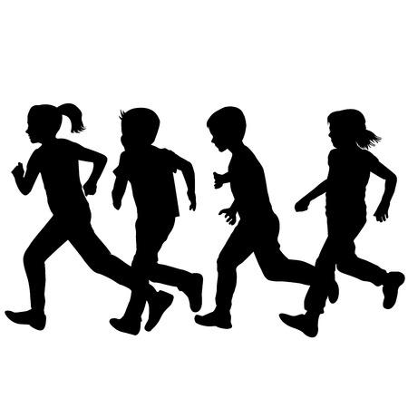 silueta niño: Siluetas de los niños que se ejecutan sobre el fondo blanco