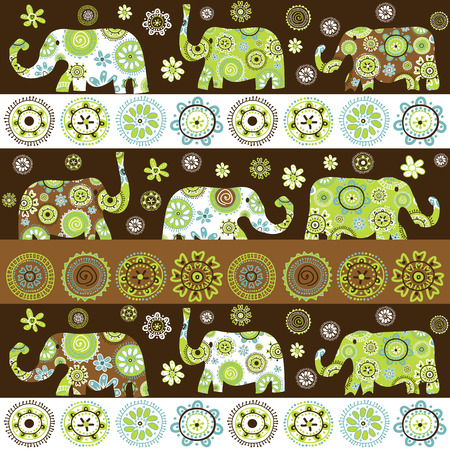patterned: Ethnic background with floral patterned elephants
