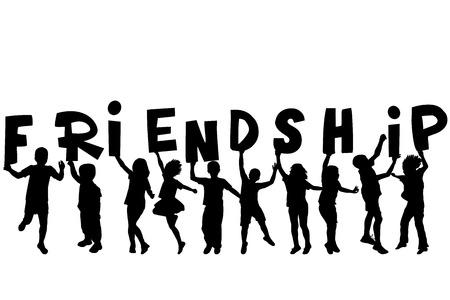 amicizia: Concetto di amicizia con sillhouettes nere di bambini che tengono le lettere con la parola Amicizia