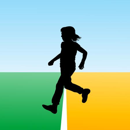 new beginning: Girl crossing the finish line, concept illustration for new beginning Illustration