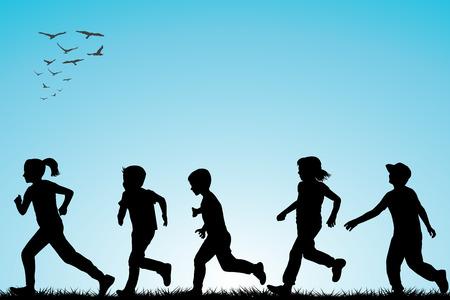 children running: Illustration of children running outdoor