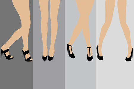 legs stockings: Set of advertisement concepts for stockings Illustration