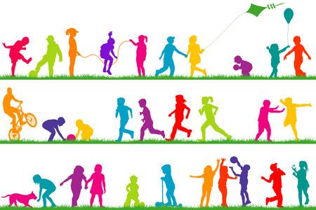 boy jumping: Conjunto de los ni�os de color siluetas jugar al aire libre Vectores