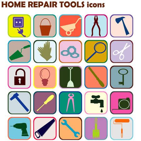 bucket and spade: Set of colored icons with home repair tools Illustration