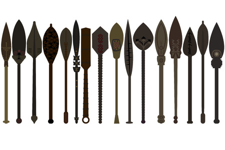 paddle: Set of wooden paddles Illustration
