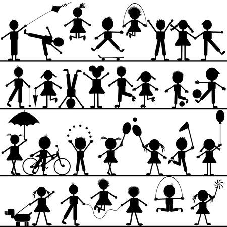 niños jugando: Dibujados a mano de estilizados de niños jugando