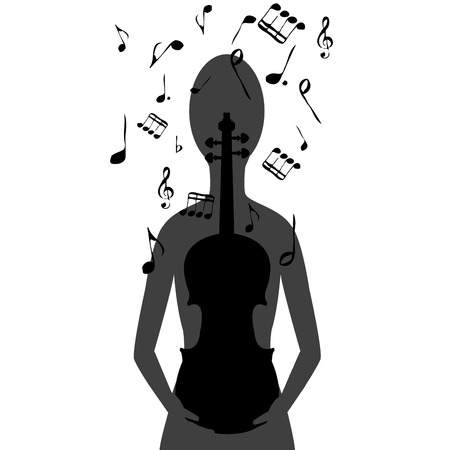 Stylized woman with violin and musical notes