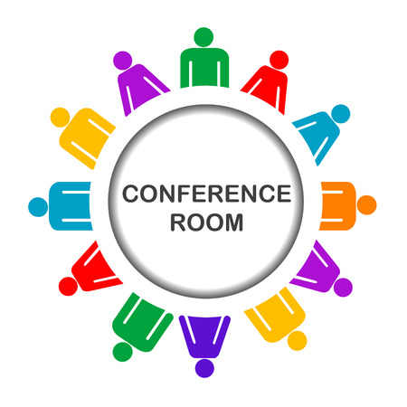 meeting place: Colorful conference room icon Illustration