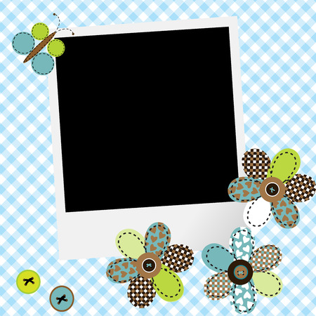 baby picture: Scrapbook baby boy design with photo frame and patcwork flowers