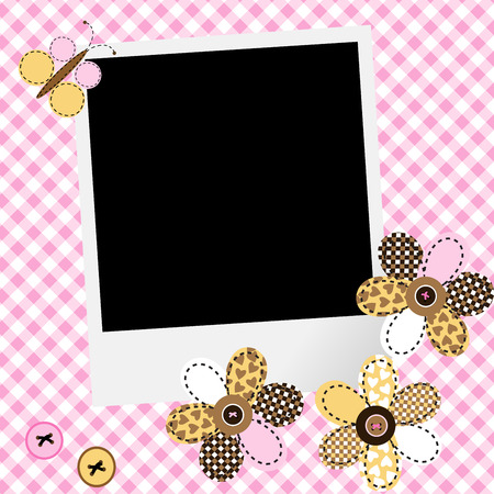 scarpbook: Scarpbook baby girl design with photo frame and patchwork flowers