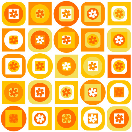 orange pattern: Orange pattern of geometric shapes and flowers