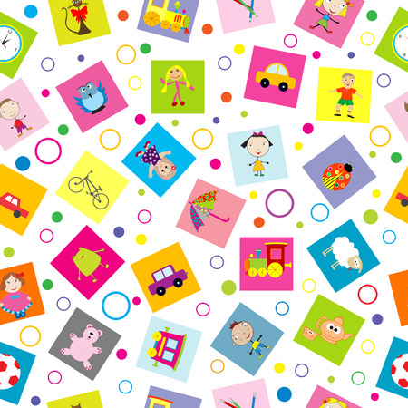 Seamless background with toys and cartoon kids Vector