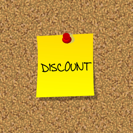 stick note: Yellow stick note paper with word DISCOUNT pinned on cork board with red pin